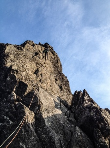 Tom descending from the Svolværgeita